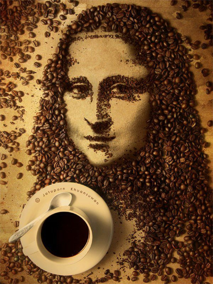 basteln mit kaffeebohnen mona lisa
