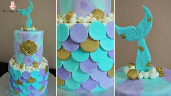 blau gold lila meerjungfrau torte selber machen