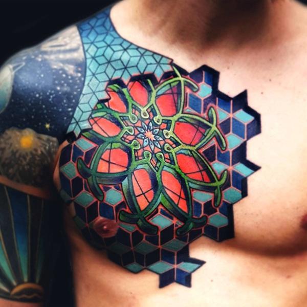 buntes 3d tattoos männer schulter tätowierung