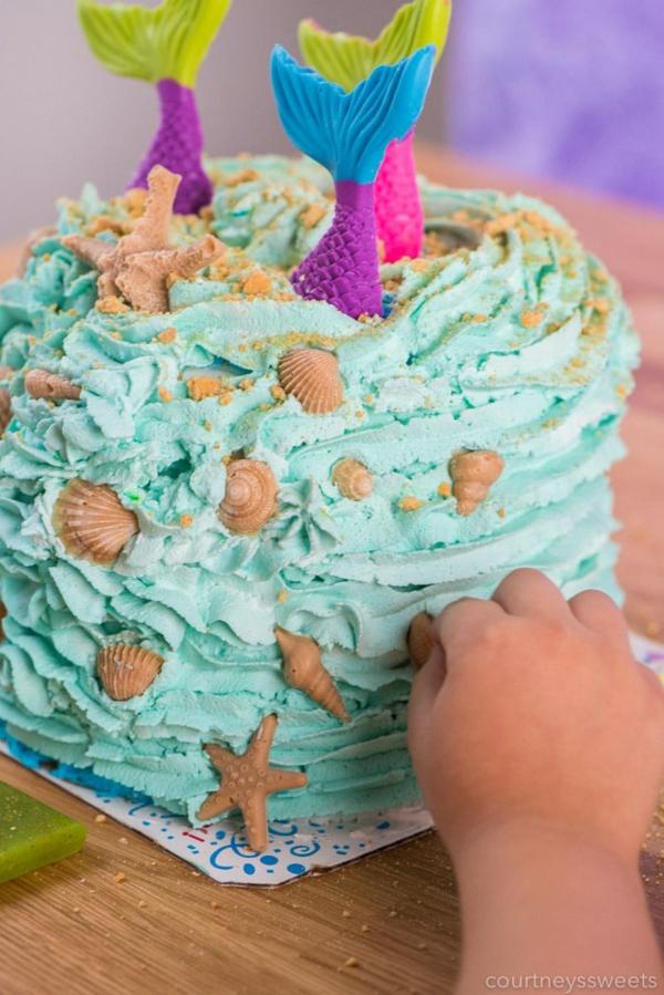 diy meerjungfrau torte kindergeburtstag