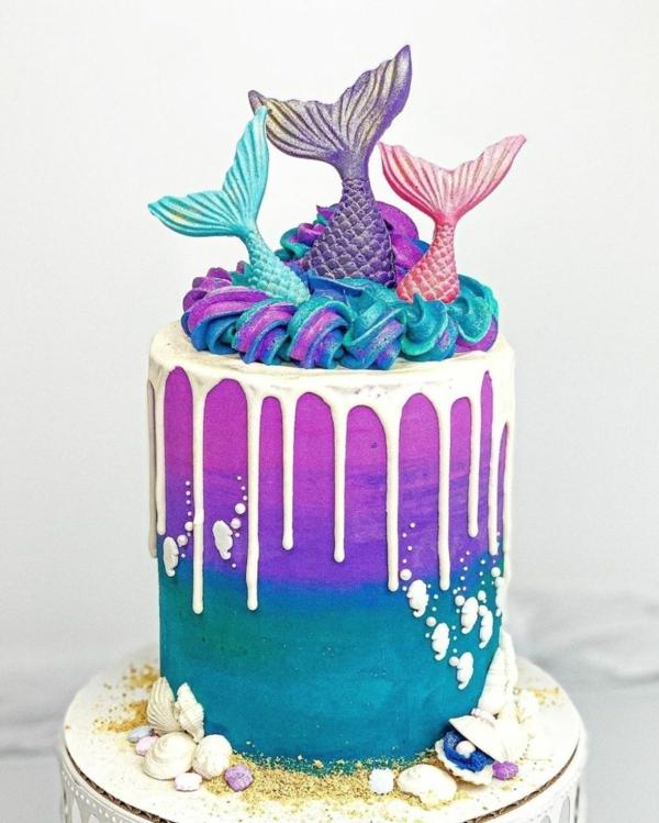 drizzle cake meerjungfrau torte kindergeburtstag