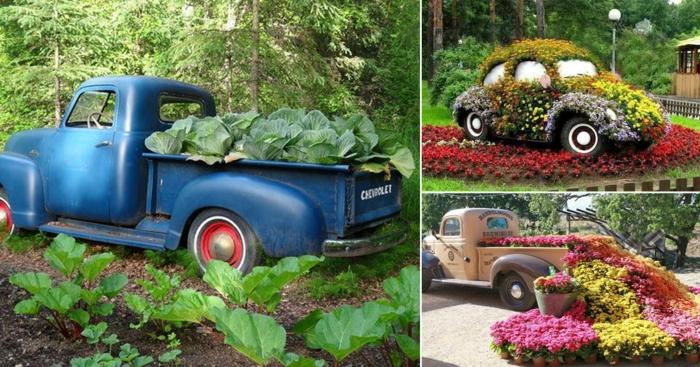 gartengestaltung modern decking gartenweg anlegen alte autos gebrauchen