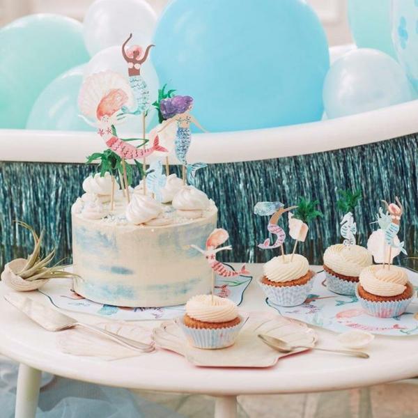 kindergeburtstag deko meerjungfrau torte muffins