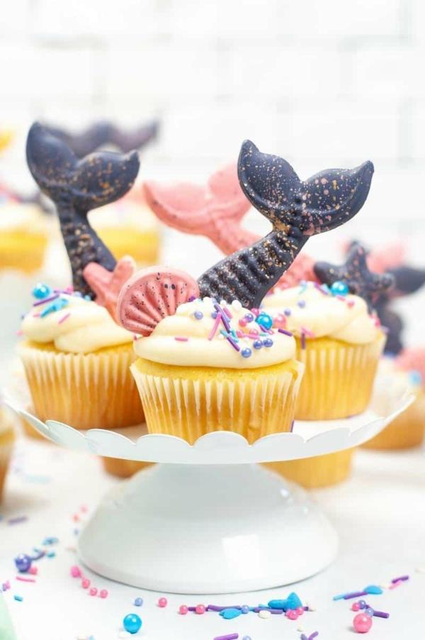 kindergeburtstag meerjungfrau flosse muffins