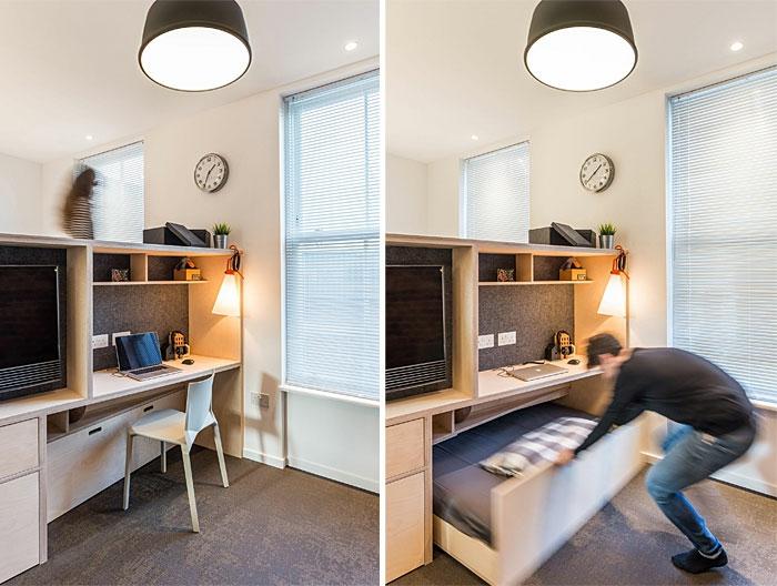 kleine wohnung einrichten einrichtungsbeispiele einzimmerwohnung ausziebare moebel
