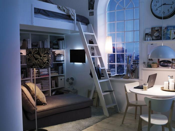 kleine wohnung einrichten einrichtungsbeispiele einzimmerwohnung hochbett 2