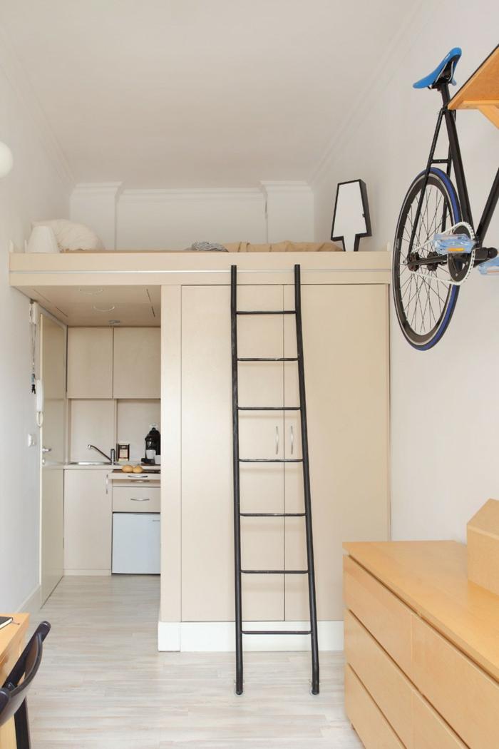kleine wohnung einrichten einrichtungsbeispiele einzimmerwohnung hochbett