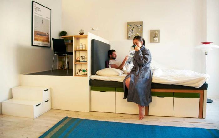 kleine wohnung einrichten einrichtungsbeispiele einzimmerwohnung raumtrenner modern