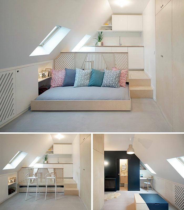 kleine wohnung einrichten einrichtungsbeispiele einzimmerwohnung vertikalen raum schraege