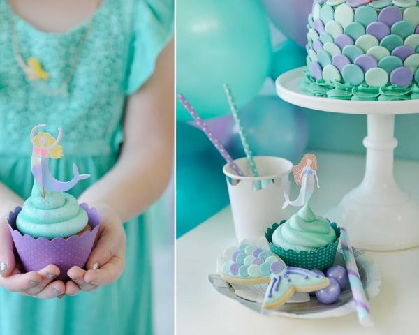 meerjungfrau cupcakes torte kindergeburtstag