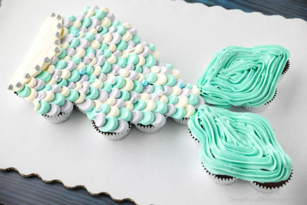 originelle meerjungfrau torte aus muffins