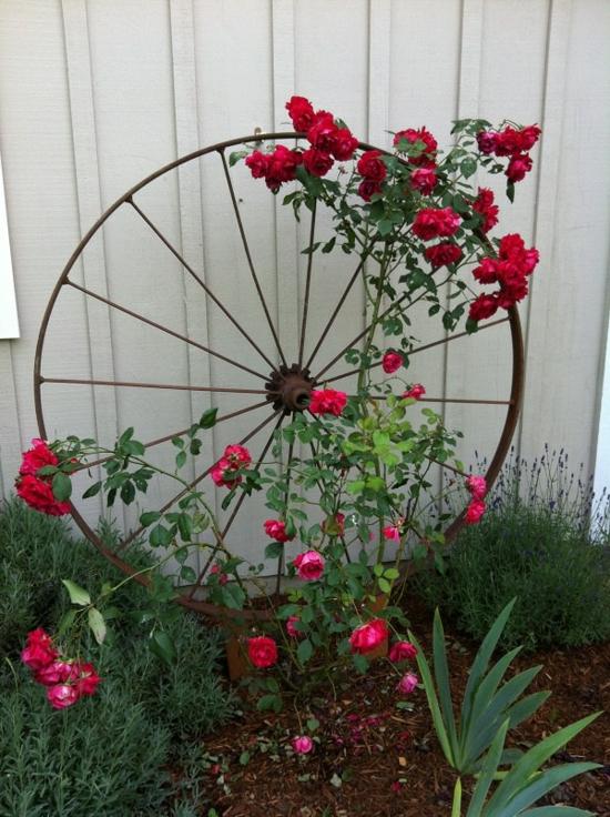 rankhilfe selber bauen metallrad rosen