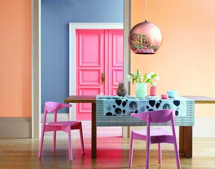 rosatöne wandfarbe esszimmer stuehle