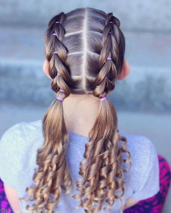 zwei zopf lange haare flechtfrisuren kinder