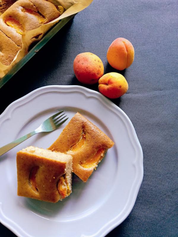 Aprikosenkuchen vom Blech zwei Stück auf einem weißen Teller serviert