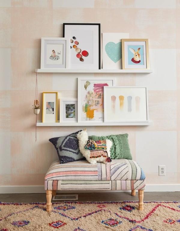 Bilderleiste dekorieren – Ideen und Tipps für eine kreative Wandgestaltung bunt farbenfroh boho chic