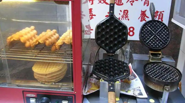 Bubble Waffeln zubereiten Waffelstand Hong Kong