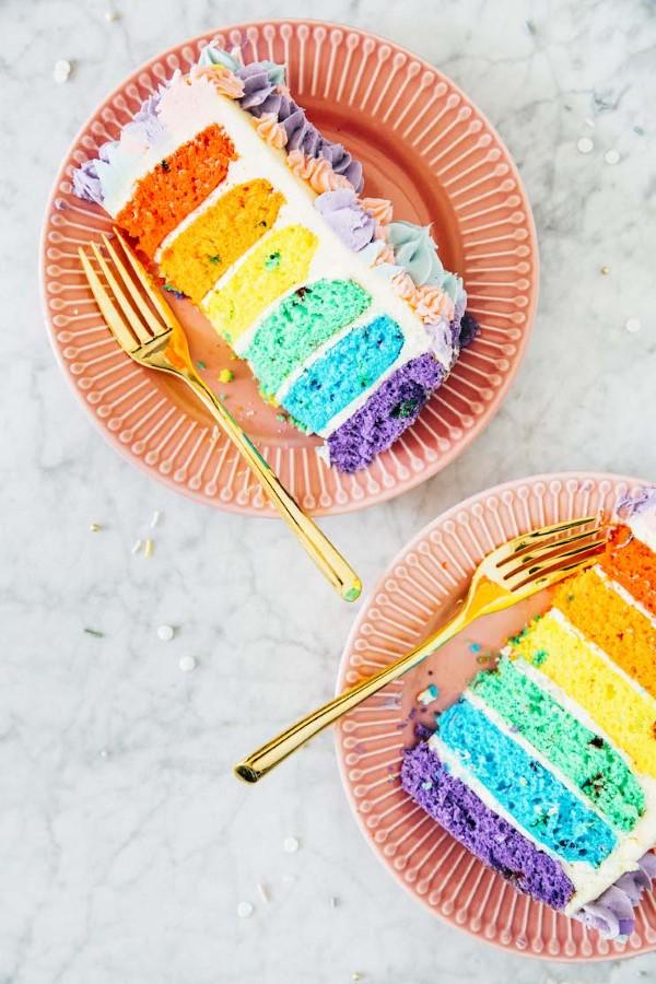 Farbenfrohe und köstliche Regenbogenkuchen Rezept Ideen einhorn kuchen bunt schön