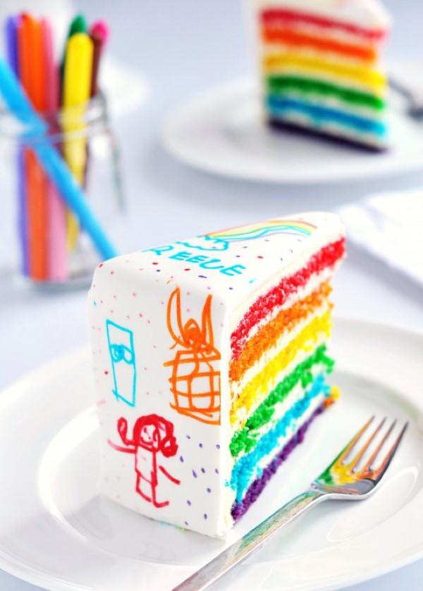 Farbenfrohe und köstliche Regenbogenkuchen Rezept Ideen fondant bemalen diy