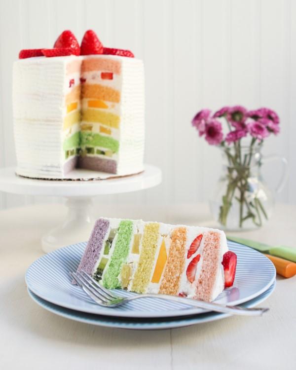 Farbenfrohe und köstliche Regenbogenkuchen Rezept Ideen pastellfarben frucht creme