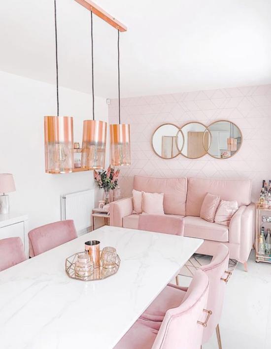 Farbpaare Wohn-und Esszimmer in Rosa und Weiß romantischer Look gemütliche Raumgestaltung