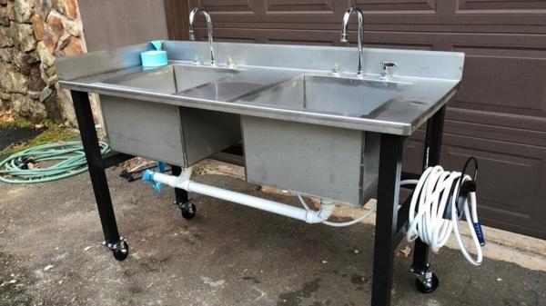 Gartenspüle Ideen Außenbereich Doppel Waschbecken