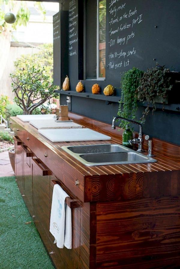 Gartenspüle Ideen Außenbereich gestalten Doppelspüle