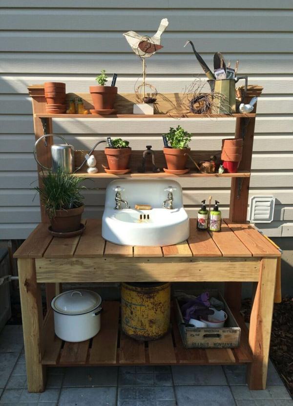 Gartenspüle Ideen Außenbereich gestalten Garten Waschbecken