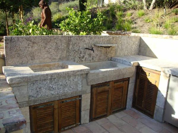Gartenspüle Ideen Außenbereich gestalten Küche im Freien