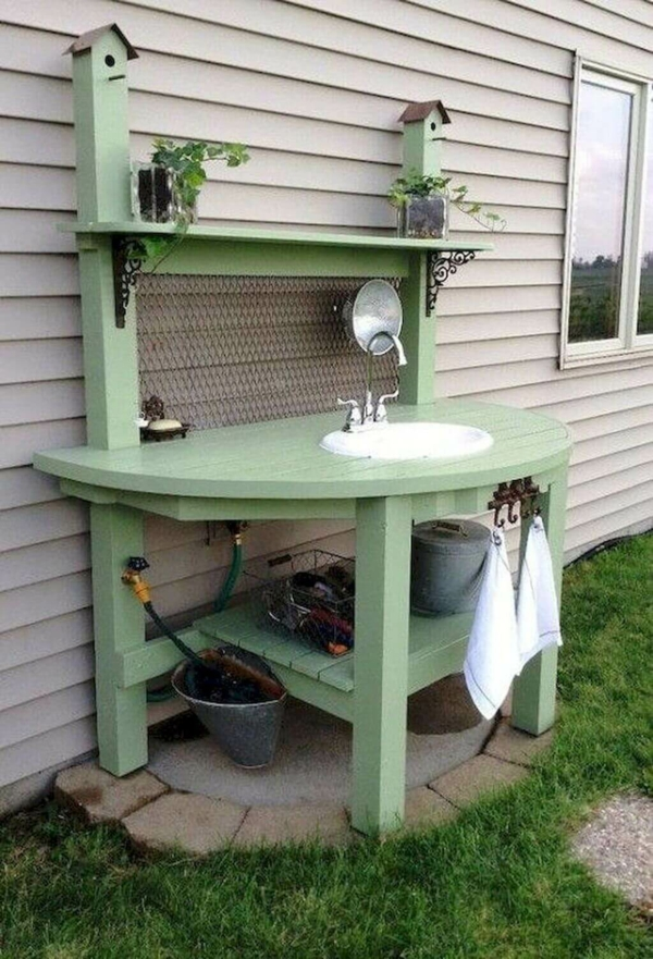 Gartenspüle Ideen Außenbereich gestalten Spüle einbauen