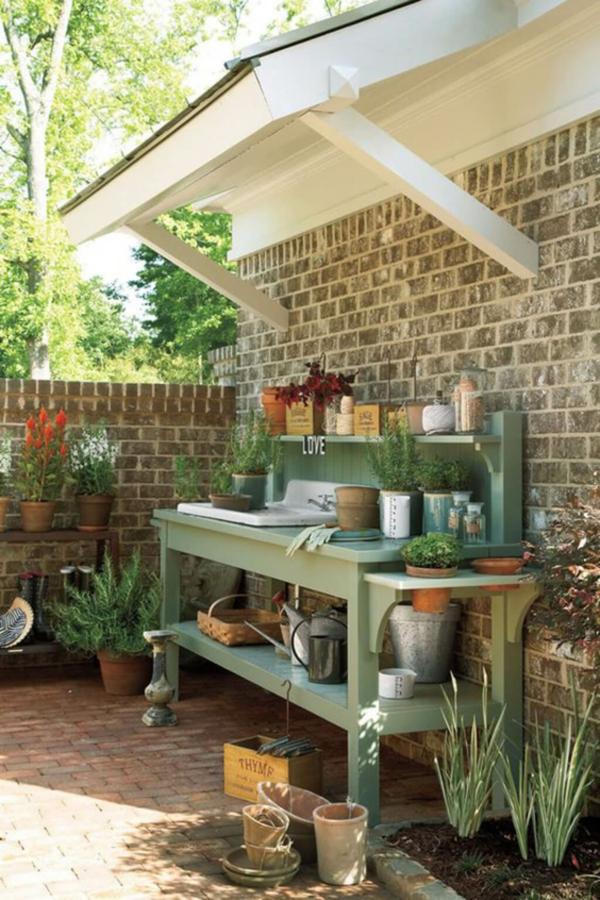 Gartenspüle Ideen Außenbereich gestalten Waschbecken im Schatten