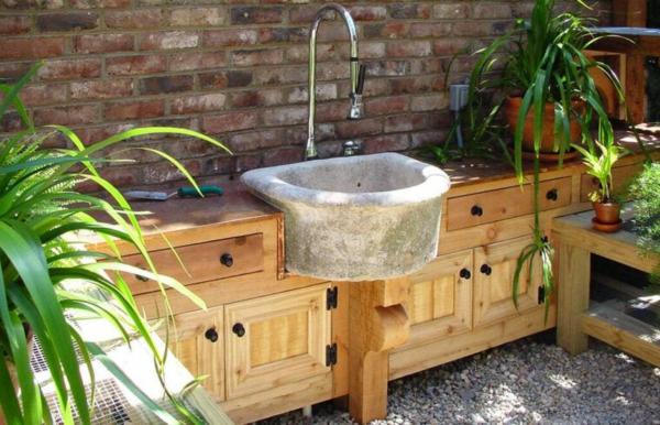 Gartenspüle Ideen Holzschrank Waschschrank