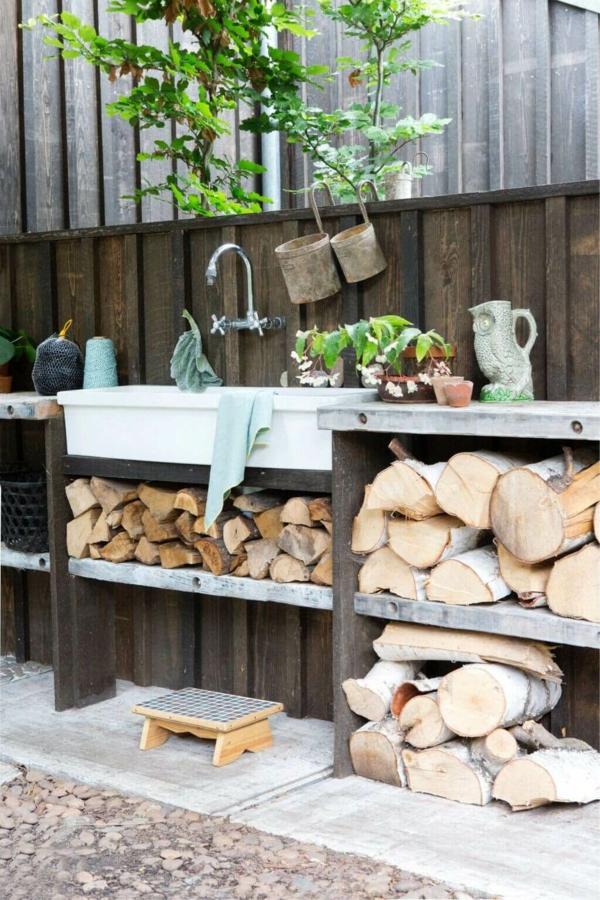 Gartenspüle Ideen im Freien