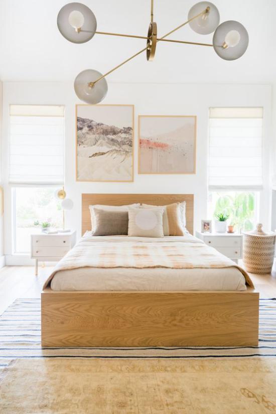 Helles Holz im Interieur Schlafzimmer im Landhausstil erstklassige Farbharmonie