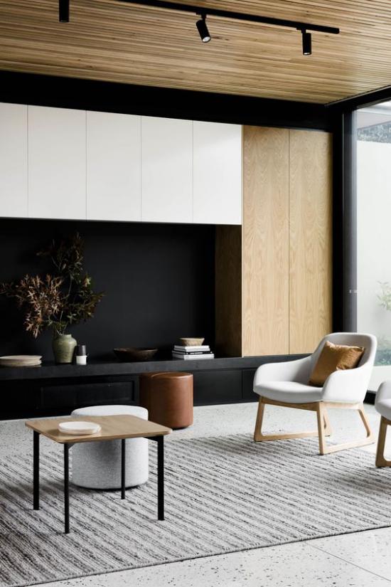 Helles Holz im Interieur modernes Wohnzimmer helles und dunkles Holz schönes Innendesign