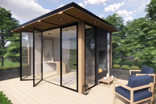 Home Office im Garten Gartenbüro im minimalistischen Stil Einfachheit im Design
