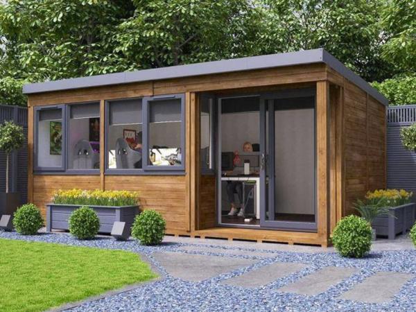Home Office im Garten größeres Gartenhaus zwei oder mehrere Arbeitsplätze einrichten