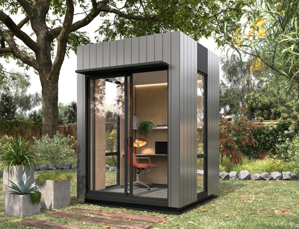 Home Office im Garten kleines Gartenbüro modernes Gartenhaus moderne Einrichtung