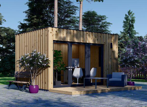 Home Office im Garten schönes modernes Gartenhaus mit Veranda zwei Sessel