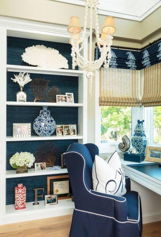 Home Office maritim einrichten Mitbringsel schöne Souvenirs aus dem Meeresurlaub in Szene setzen damit dekorieren