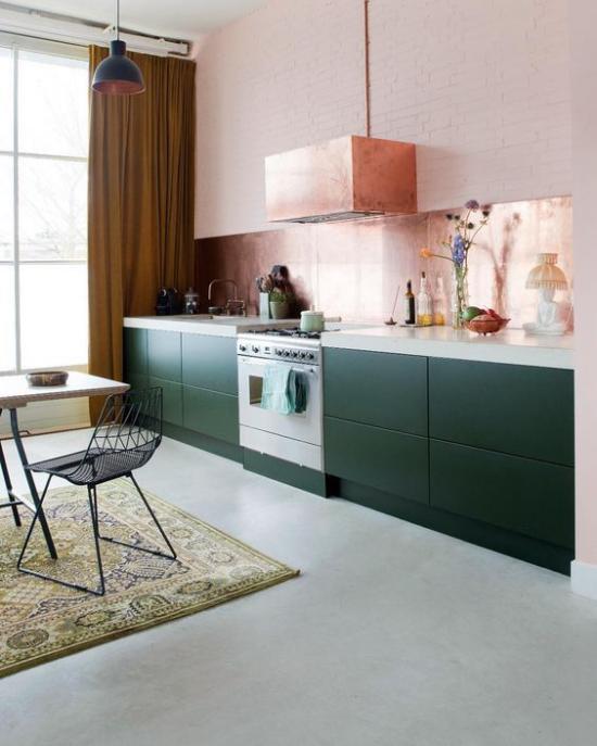 Küchenzeile Kochherd zentrale Stellung Dunstabzugshaube darüber