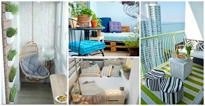 Kleiner Balkon Ideen selber machen diy ideen upcycling ideen farbgestaltung blumen collage