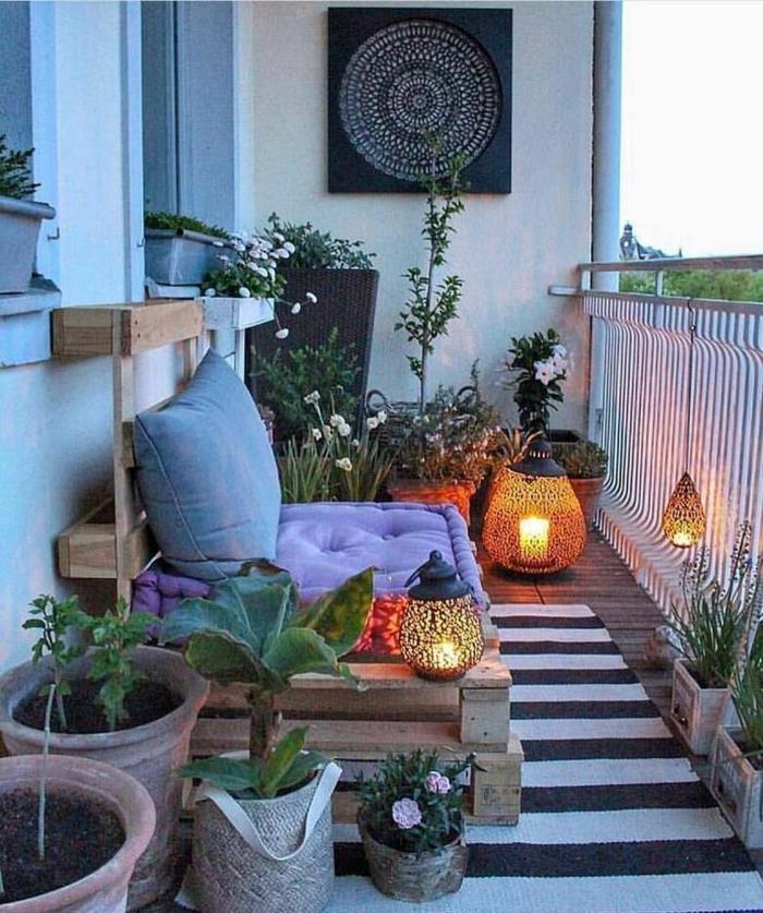 Kleiner Balkon Ideen selber machen diy ideen upcycling ideen schwarz weiss