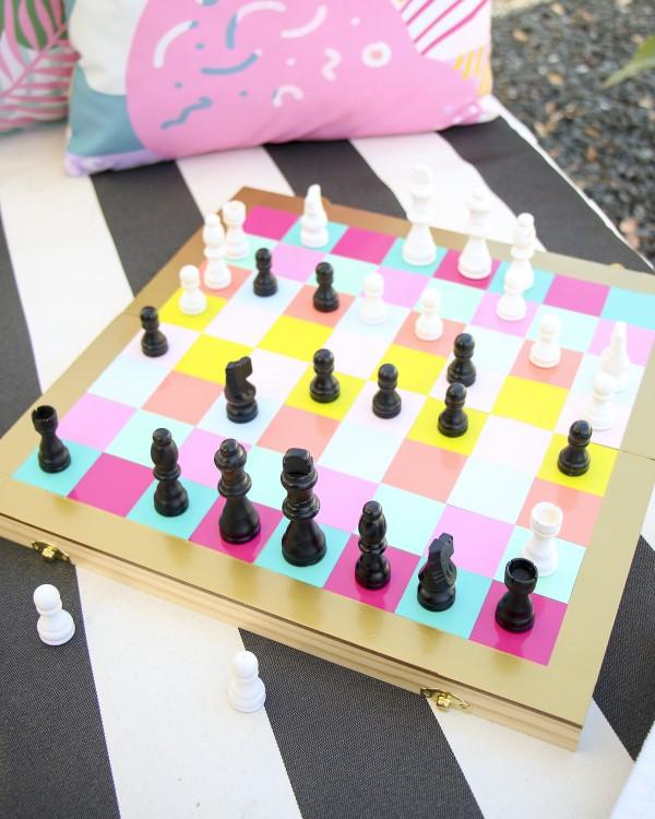 Kreative und interaktive Bastelideen gegen Langeweile für Groß und Klein diy schach brettspiel bunt