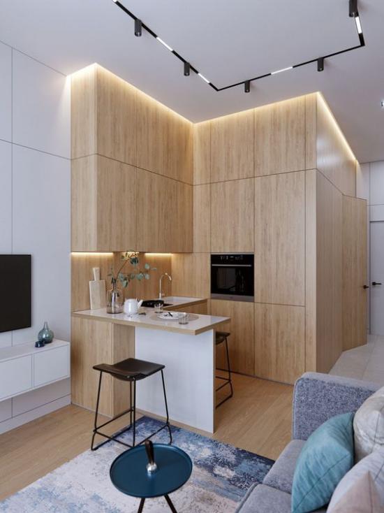 L-Küche stilvolles Design ein Schenkel als Raumteiler offenes Raumkonzept