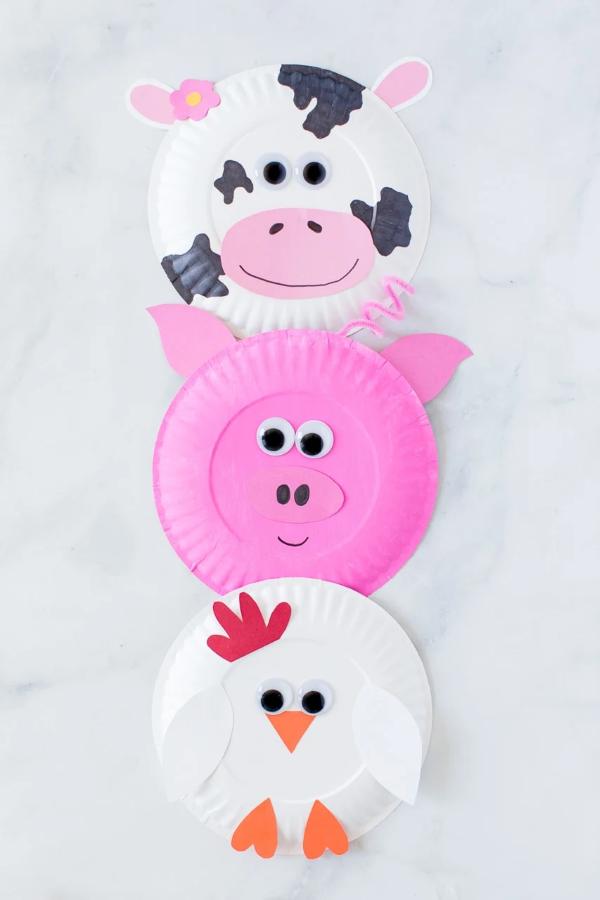 Malen und Basteln mit 2jährigen Kindern – kreative und einfache Ideen für Kleinkinder pappteller tiere niedlich