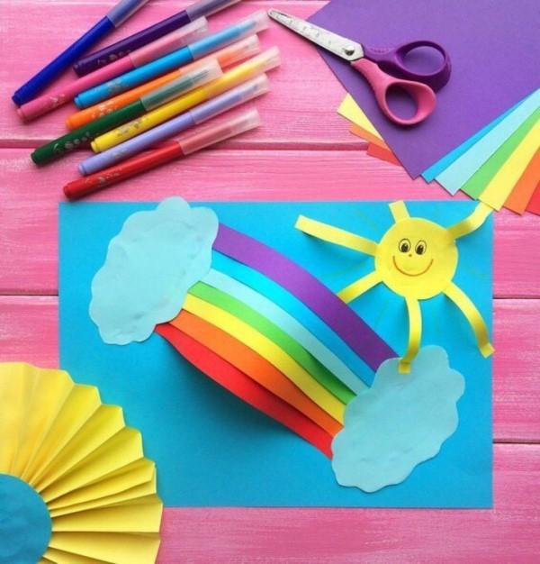 Malen und Basteln mit 2jährigen Kindern – kreative und einfache Ideen für Kleinkinder regenbogen bunt schön
