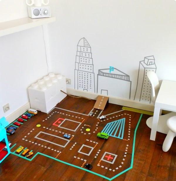 Malen und Basteln mit 2jährigen Kindern – kreative und einfache Ideen für Kleinkinder washi tape stadt boden