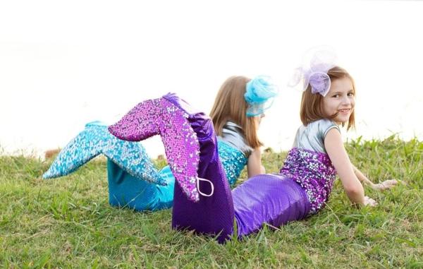 Meerjungfrau Flosse für Kinder basteln Anleitung Bastelideen