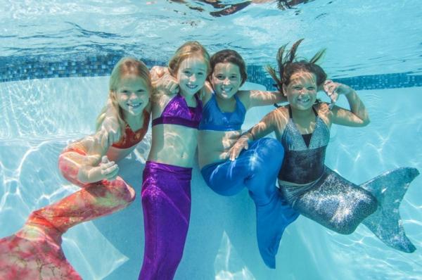 Meerjungfrau Flosse für Kinder selber machen Kinderspaß Schwimmbad